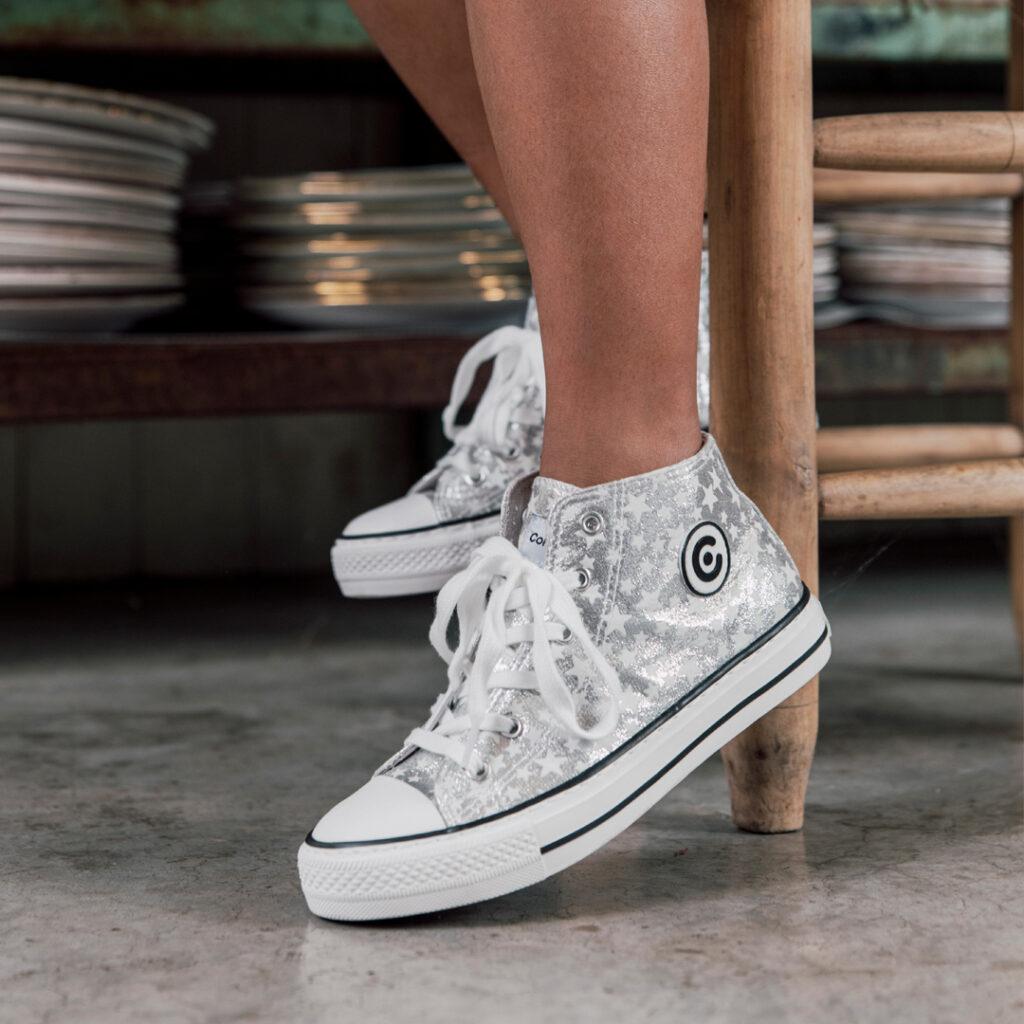 zapatos online Botín de lona plata Conguitos 28383